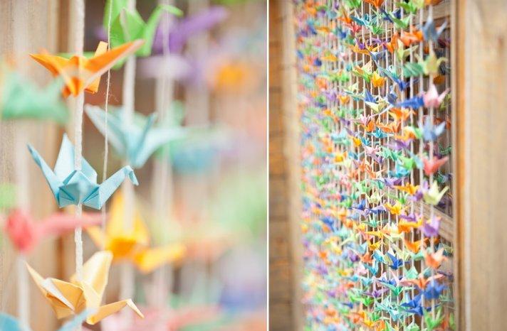 colorful wedding backdrop with origami cranes