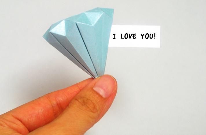 Origami diamond wedding favor with hidden message