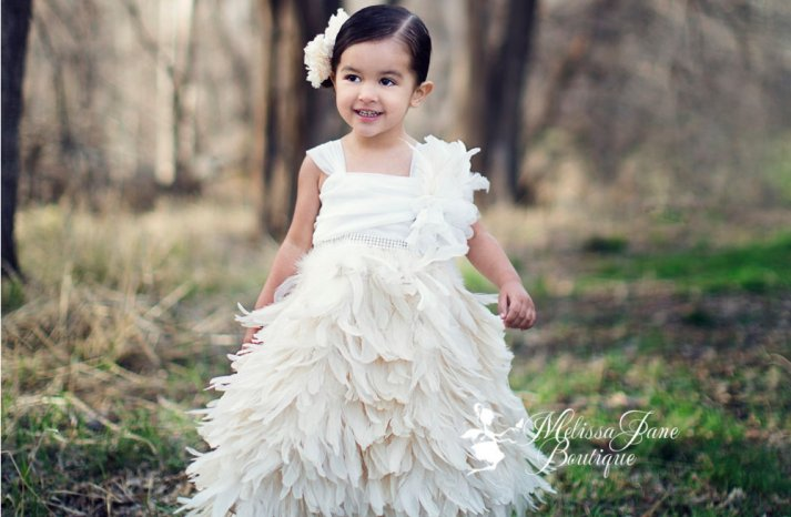 feather trimmed flower girl dress in ivory