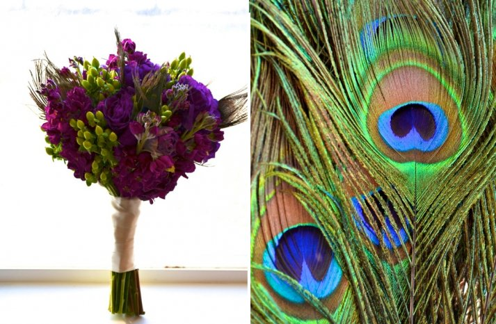 Peacock wedding inspiration with a deep purple bouquet