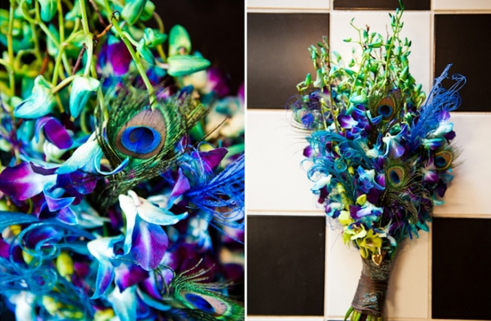 bright peacock inspired grooms boutonniere