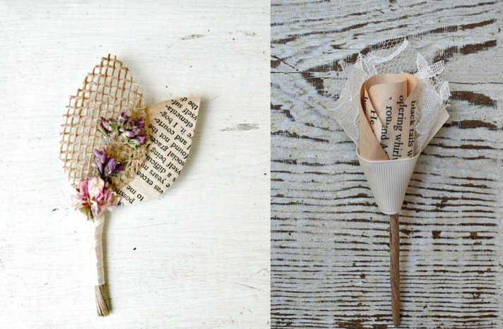 Book page boutonnieres for grooms