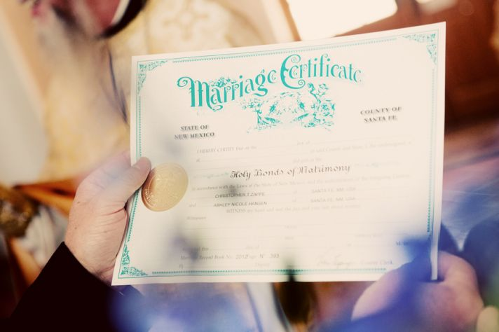 Awesome marriage certificate with aqua calligraphy