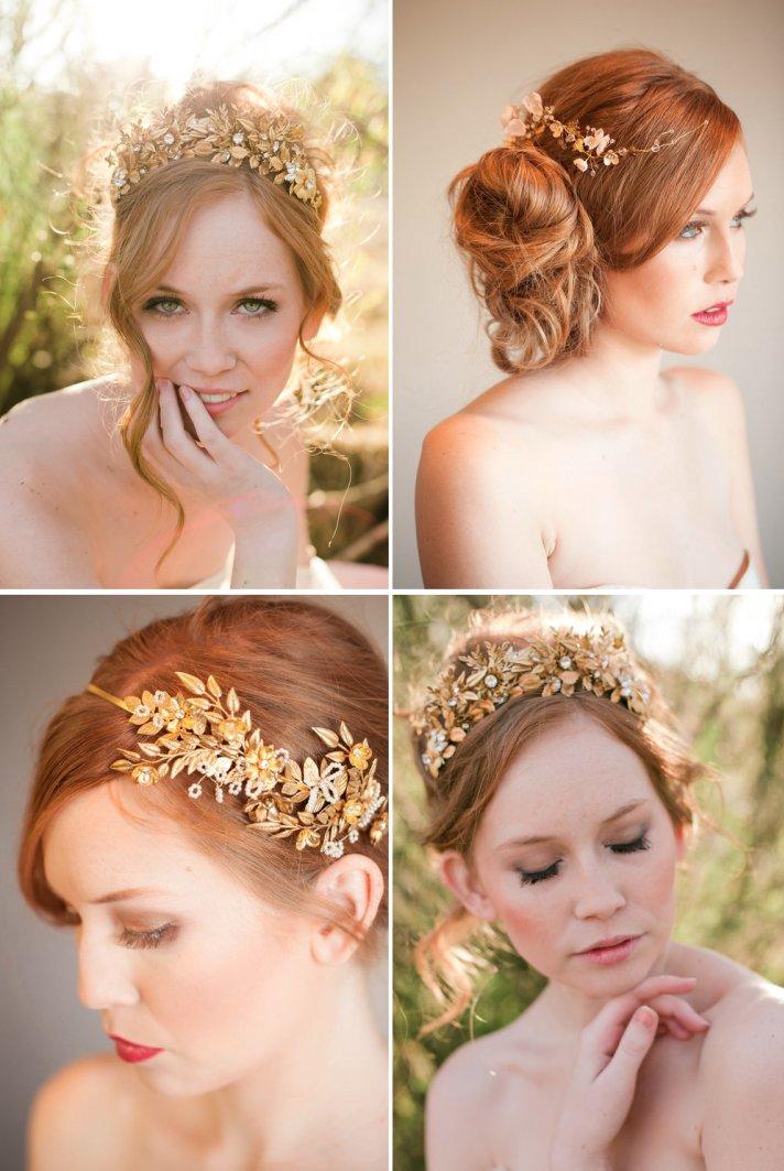 swirling gold wedding headpiece