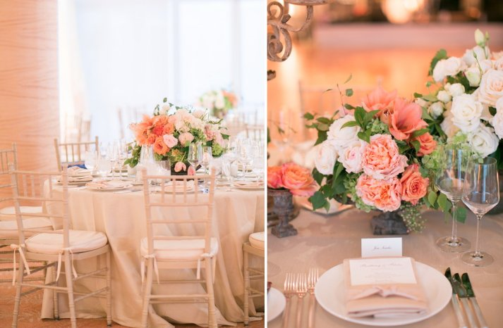 peach and ivory romantic wedding reception centerpieces with cream linens