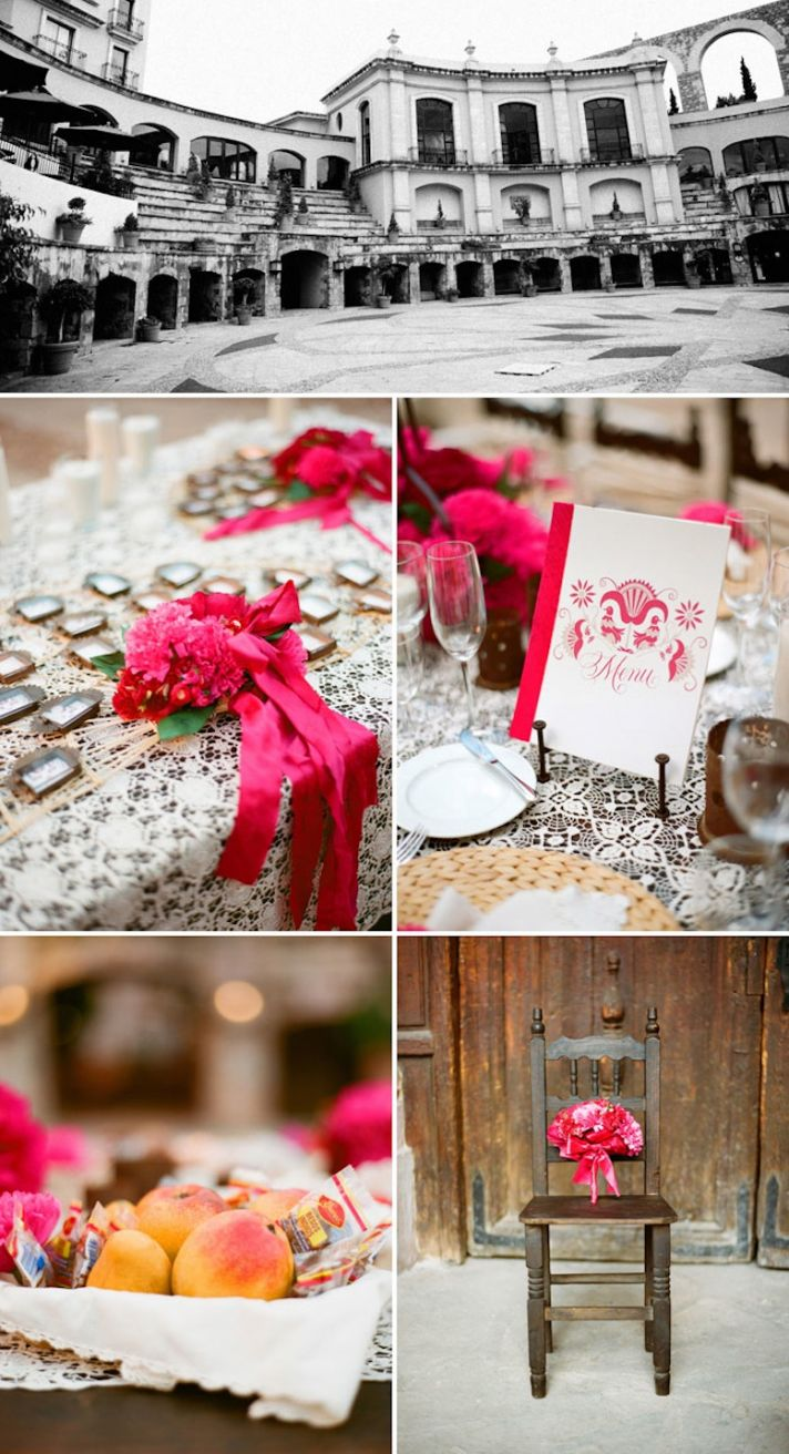Bright destination wedding in Mexico hot pink flowers historical venue