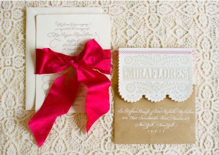 Bright destination wedding in Mexico by Aaron Delesie 3 lacy invitations