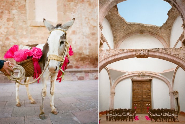 Hot pink and tan destination wedding in Mexico 2