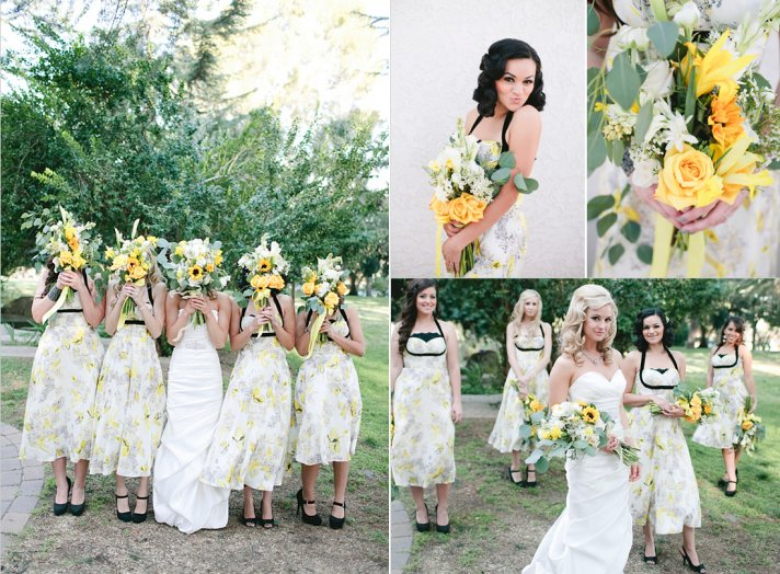 floral print bridesmaid dresses retro inspired