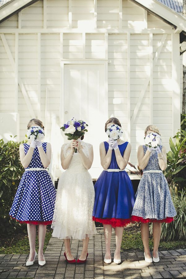 mix and match bridesmaids in blue and ivory