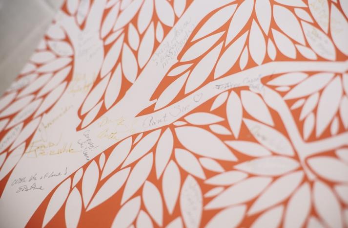 Bright summer wedding orange and white alternative guest book