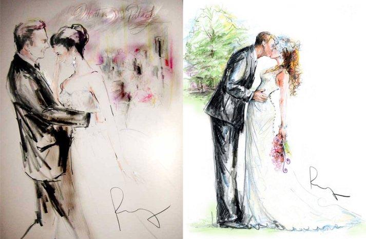 Custom wedding illustrations by Rosemary Fanti bride and groom portraits