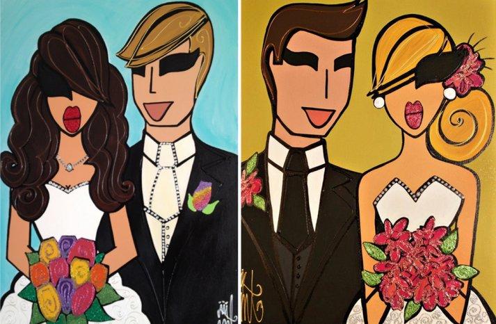 Funky custom wedding illustrations painted on canvas