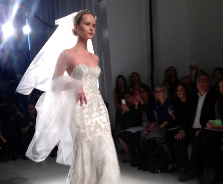 Statement wedding veil at Kenneth Pool bridal runway show