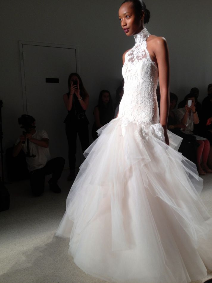 Lace and tulle wedding dress by Kenneth Pool fall 2014 bridal
