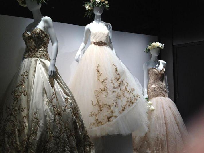 Lazaro subtle color wedding dresses