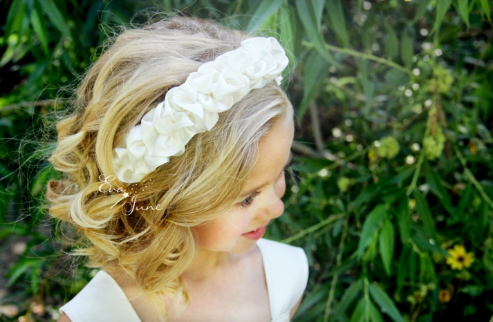 ruffled ivory flower girl headband
