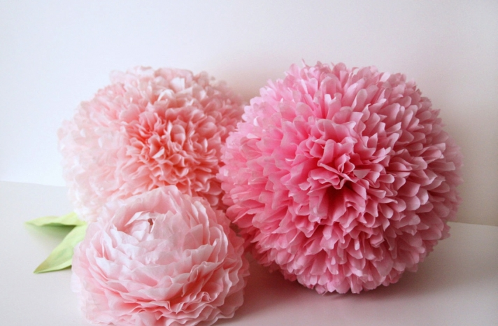 pink frilly ruffled paper wedding flowers