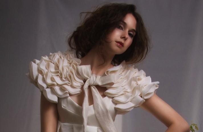 ivory ruffled wedding bolero for fall and winter brides