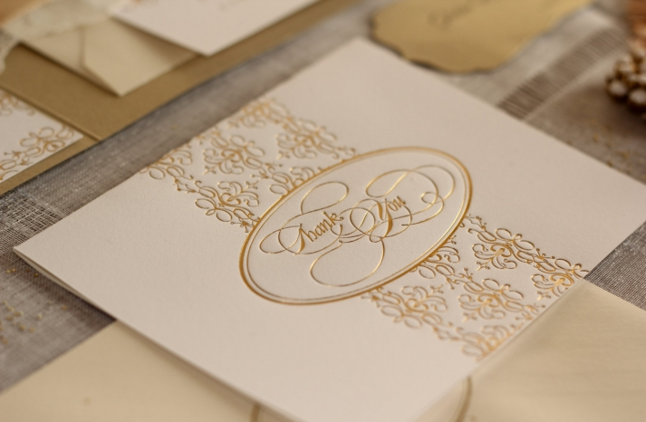 elegant gold foil wedding thank you cards