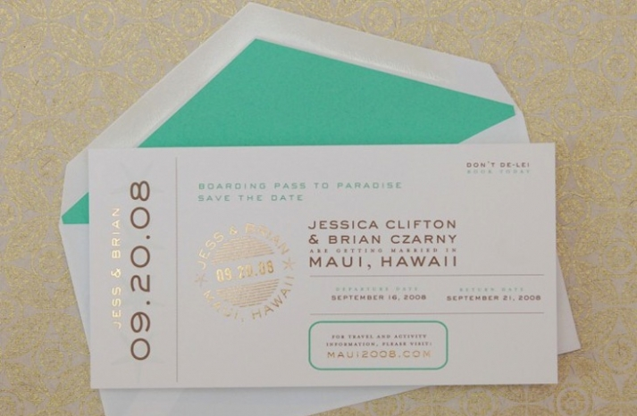 aqua gold and white passport wedding invitation