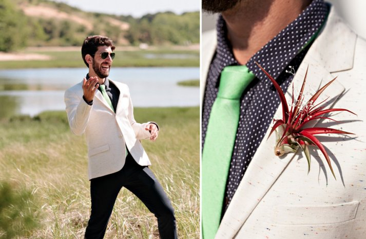 Awesome grooms attire in cream green and black