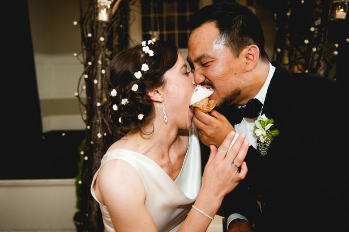 Rustic elegant wedding reception sweets table