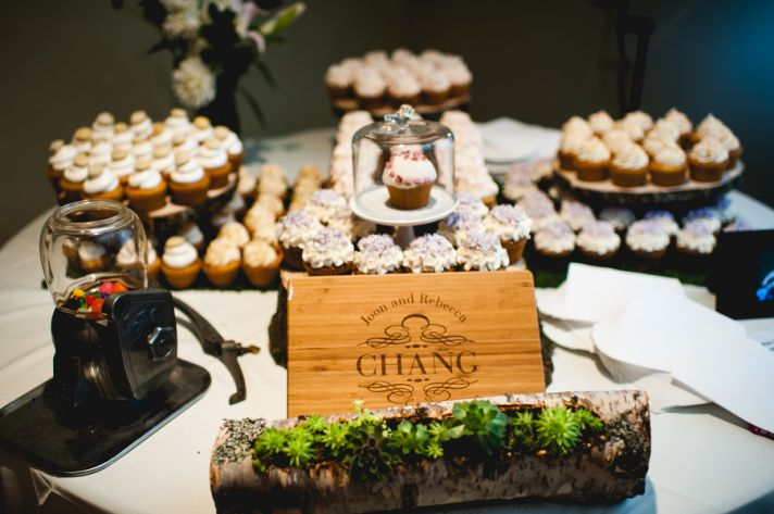 Rustic elegant wedding reception sweets table