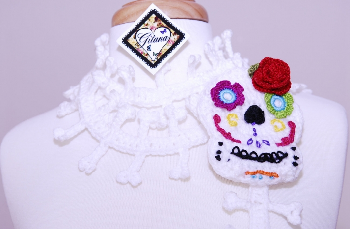 Day of the Dead crocheted wedding shawl
