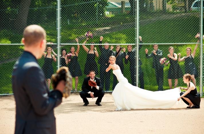 bride batter up awesome wedding photo
