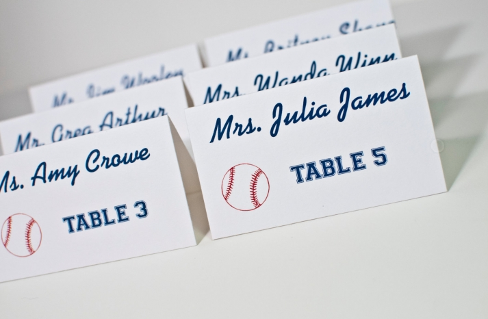 modern baseball wedding escort cards