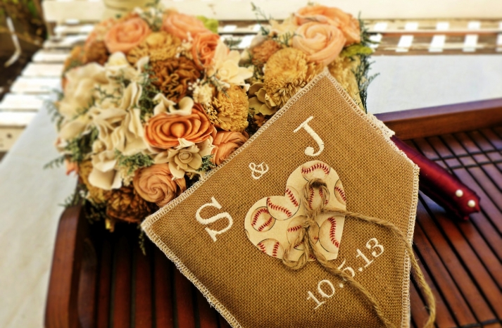 burlap baseball wedding ring pillow