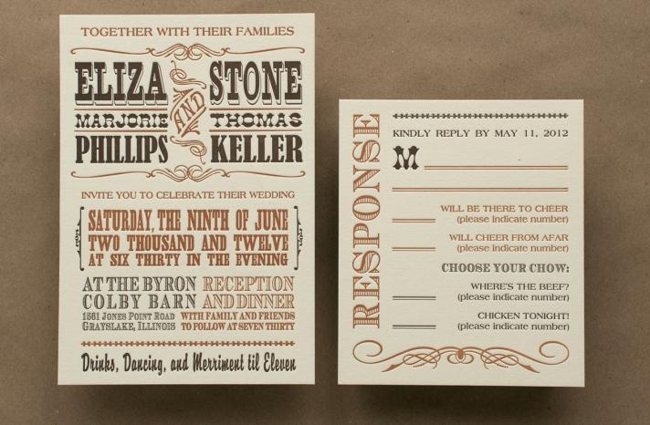 old western letterpress wedding invitations