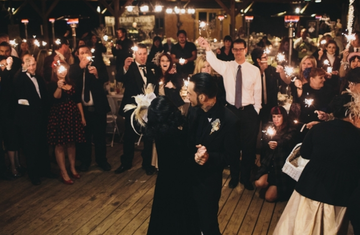 Portland real wedding mod goth first dance