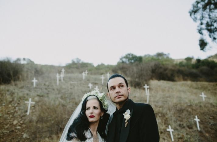 Portland real wedding mod goth rocker bride and groom