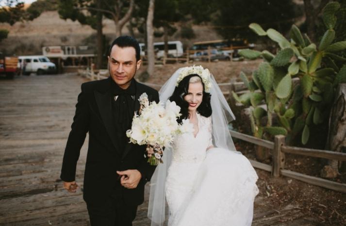 Portland real wedding mod goth bride and groom