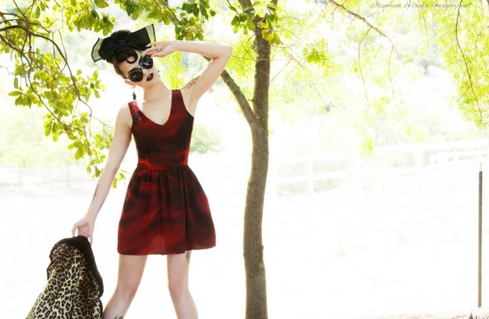 red watercolor short bridesmaid dress