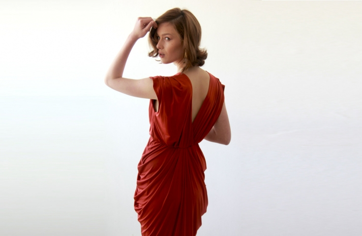 brick red bridesmaid dress with v back