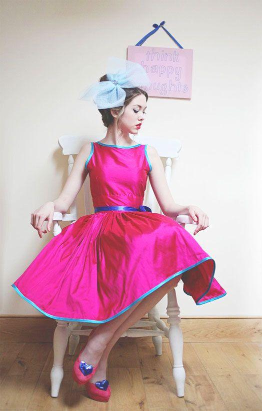 hot pink and aqua bridesmaid dress