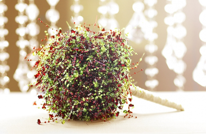 holiday wedding bouquet of green and ruby beads