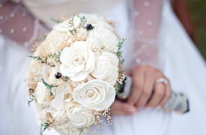 ivory sola flowers wedding bouquet