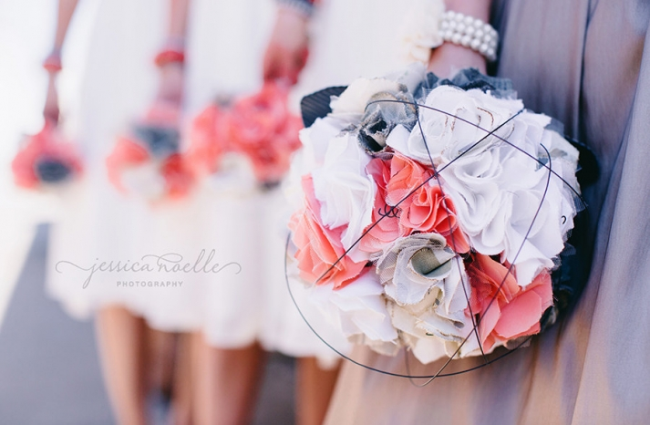 unique fabric flower bouquets in coral white and ivory