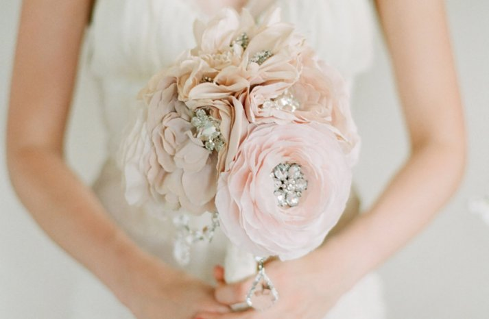 blush and cream romantic fabric bouquet