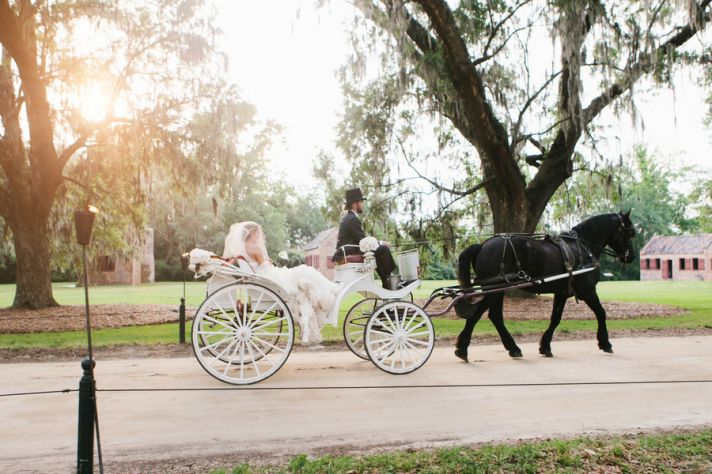 Bride arrives to wedding ceremony in horse drawn carriage