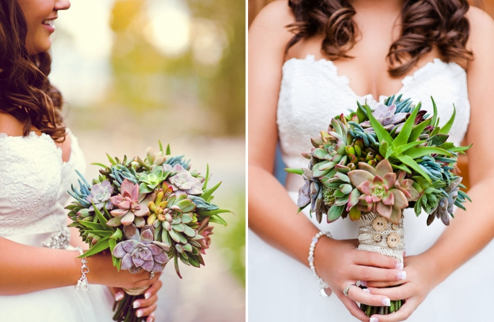 bright eco succulent wedding bouquet