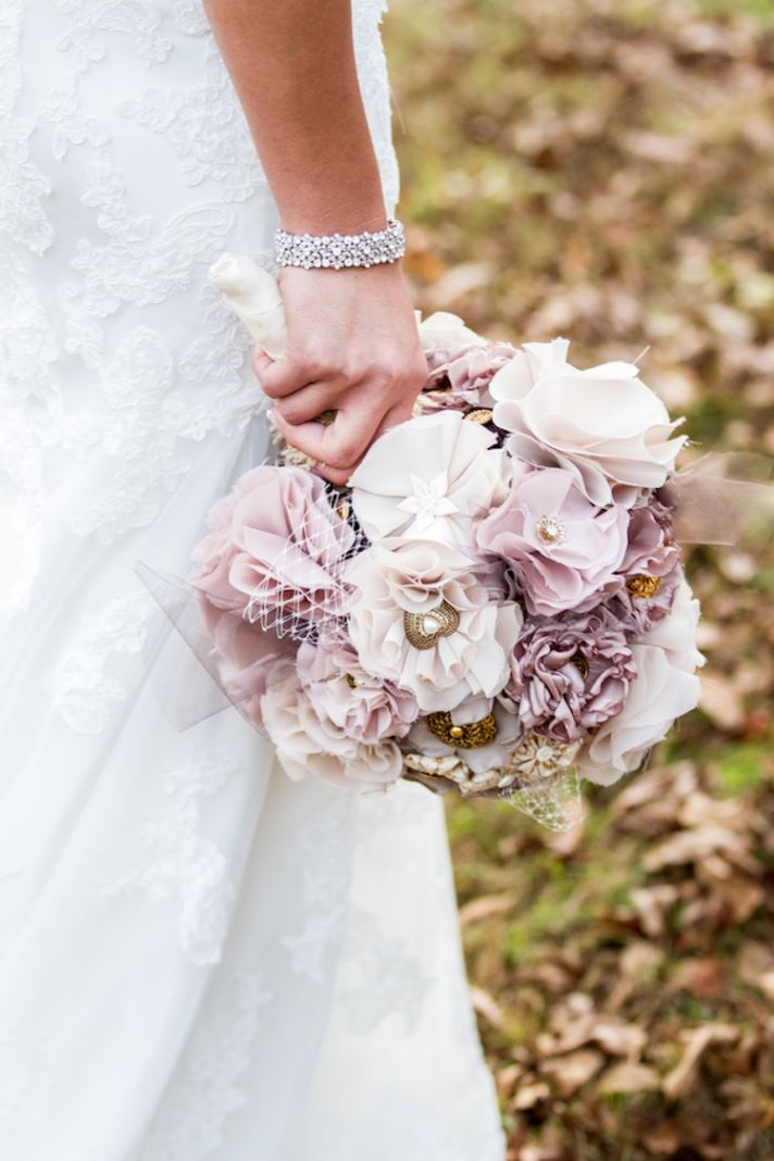 Blush and gold DIY fabric bridal bouquet