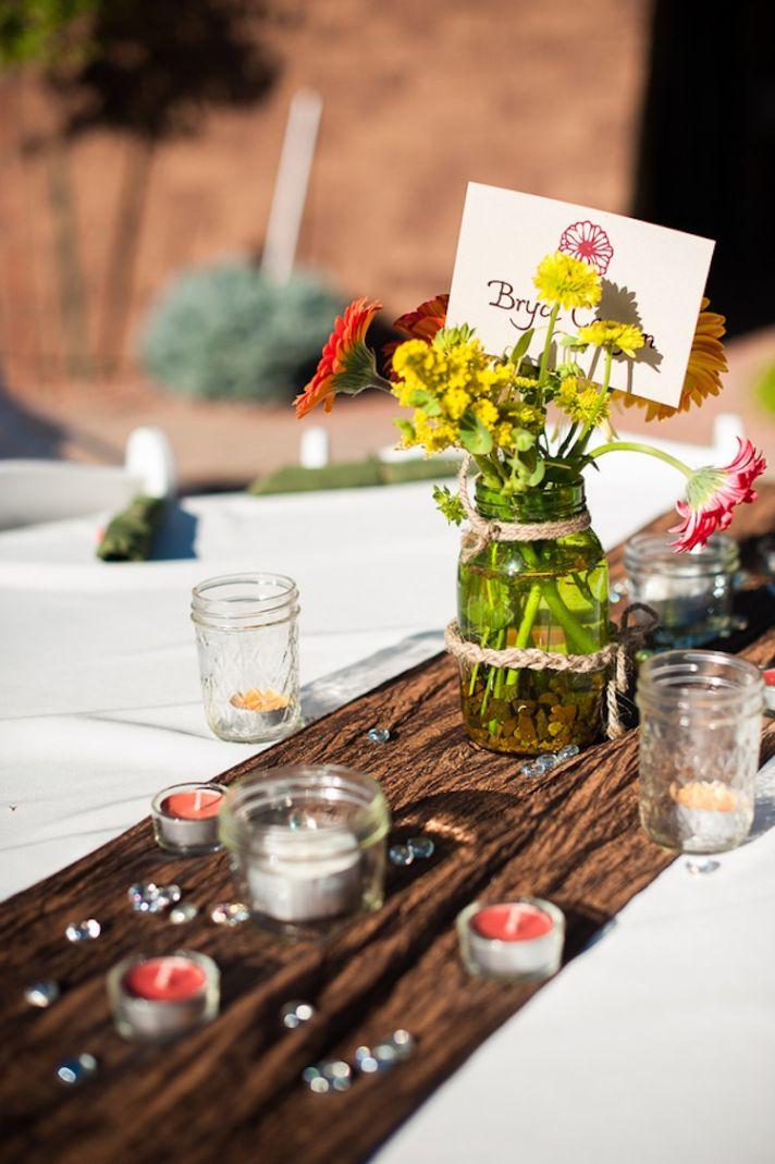 Sedona Real Wedding mason jar and wood reception decor