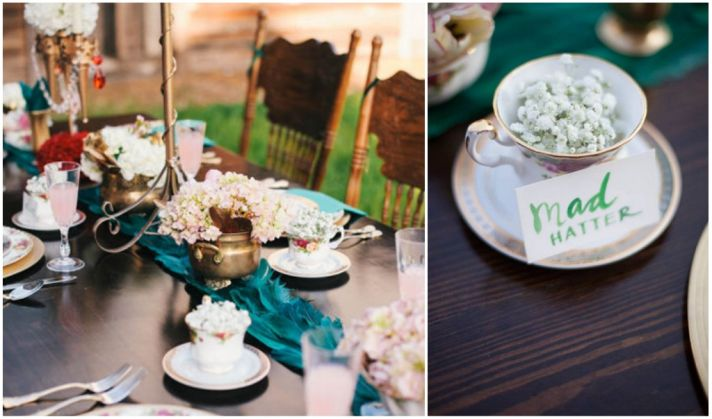 Alice in Wonderland Place Settings & Go Mad Hatter for This Alice-in-Wonderland Wedding