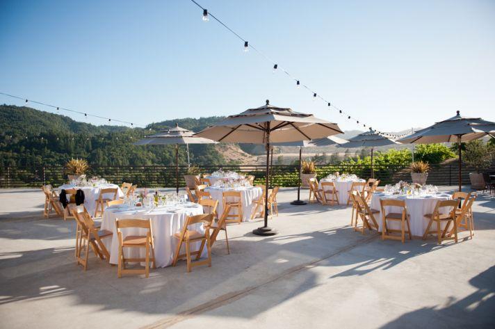 Outdoor wedding reception at a California vineyard
