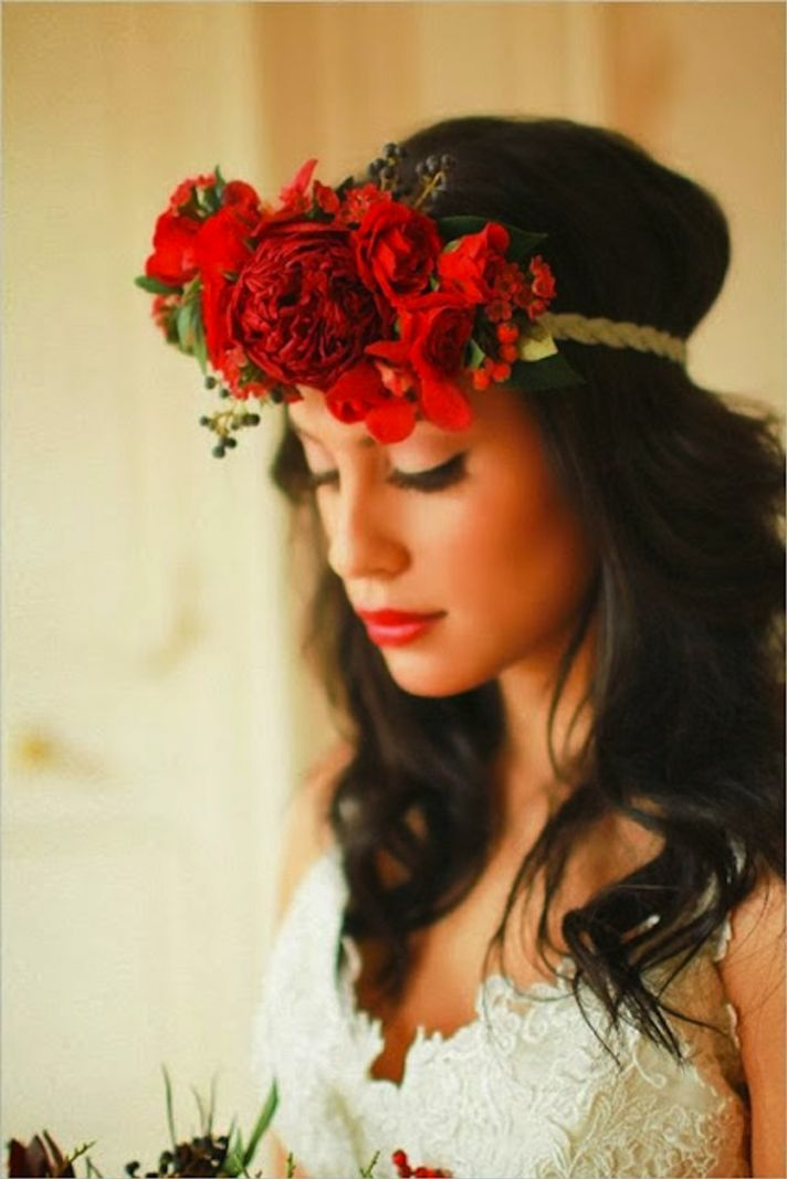 Winter bridal crown in red blooms